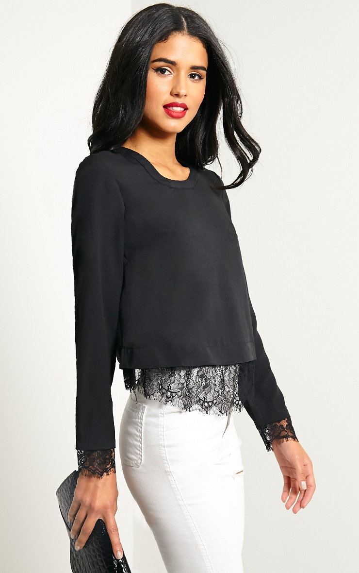 Katty Black Lace Hem Wrap Back Top 1
