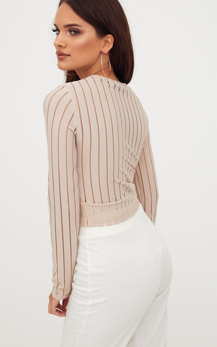 Stone Mesh Stripe Longlseeve Crop Top 2