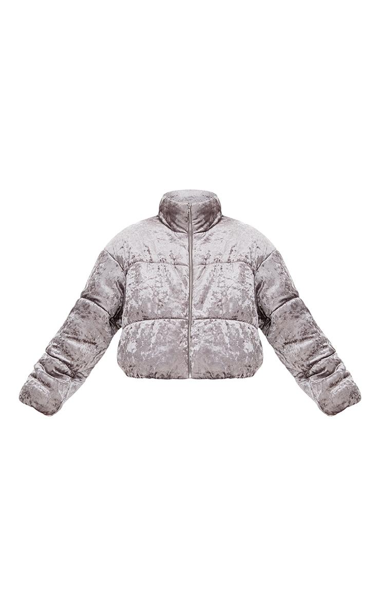 Grey Velvet Cropped Puffer Coat 3