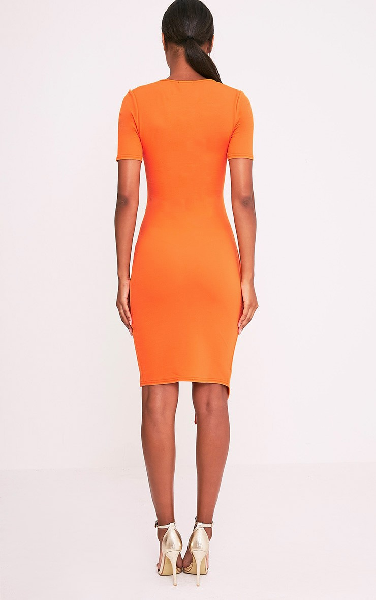 Ivie Orange Short Sleeve Wrap Front Midi Dress 3