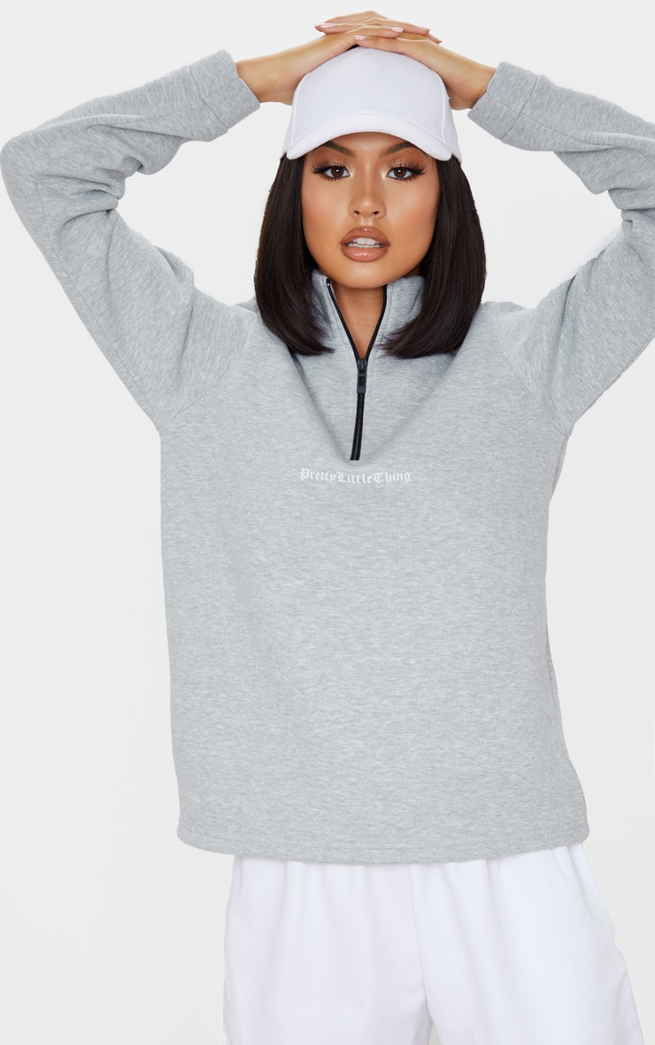 PRETTYLITTLETHING Grey Slogan Oversized Zip Front Sweater 1