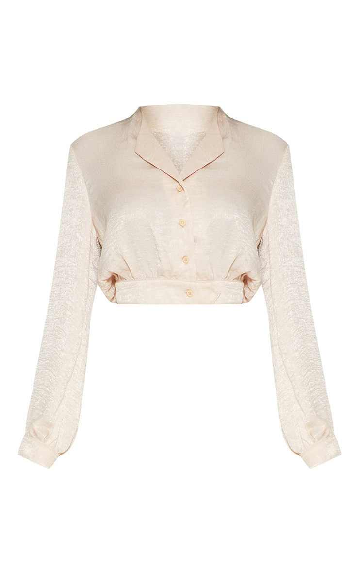 champagne Satin Button Front Crop Shirt 3