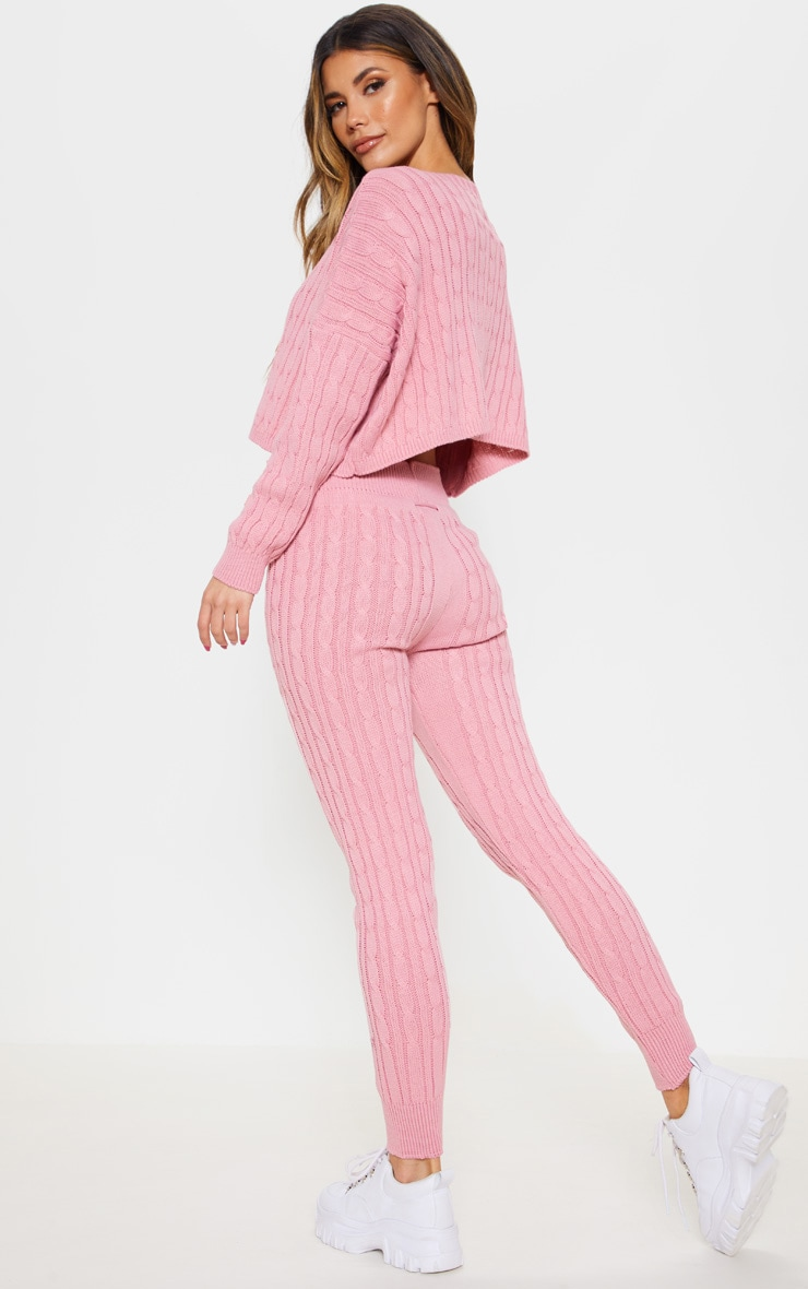Dusty Pink Cable Knit Jumper & Legging Set 2