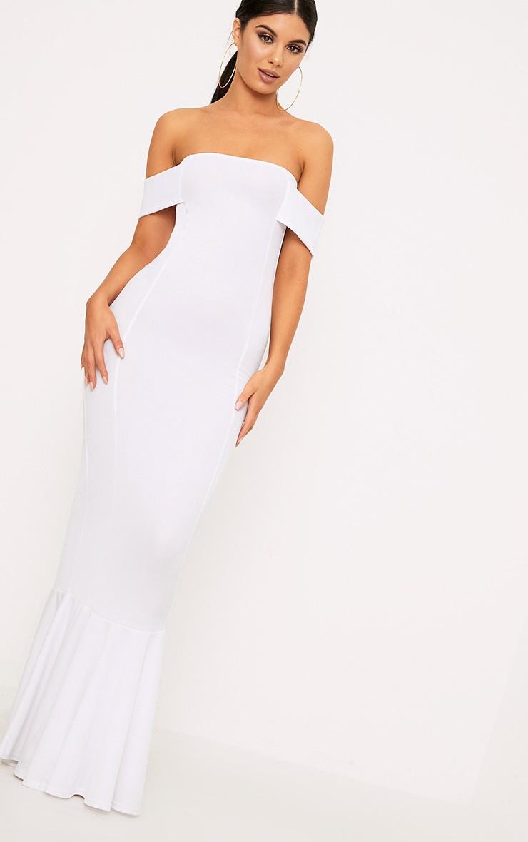 White Bardot Frill Hem Maxi Dress 1