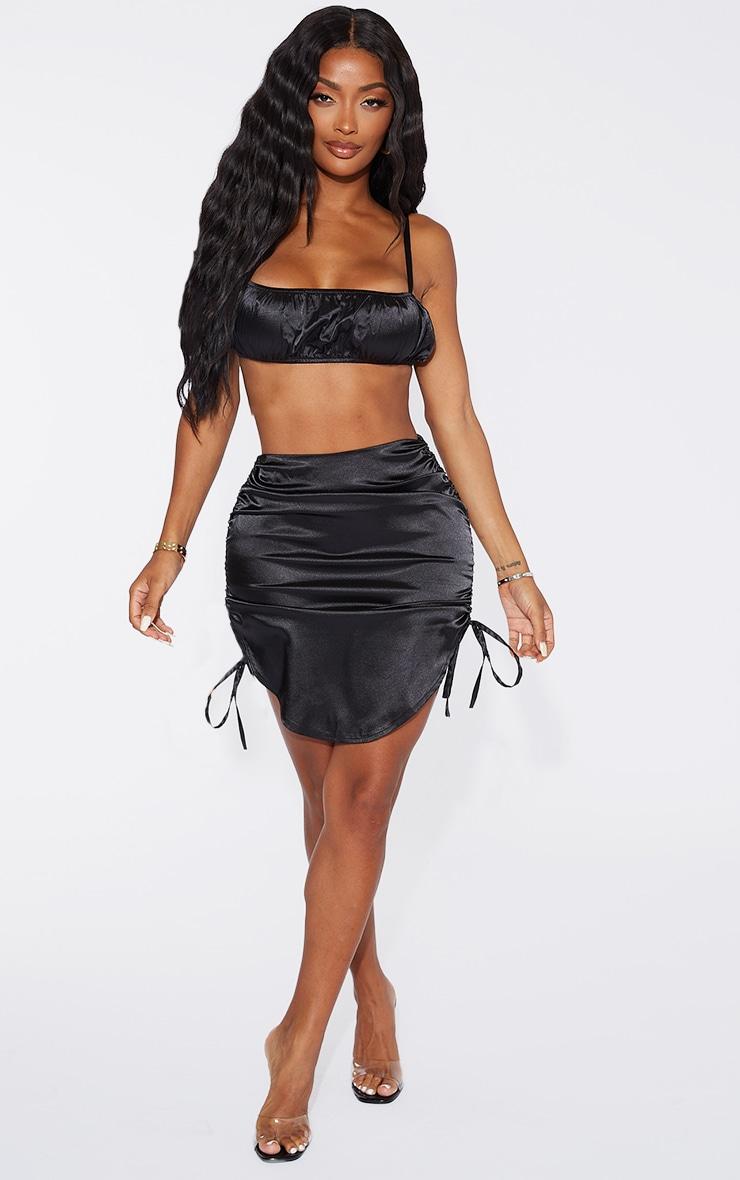 Shape Black Satin Ruched Detail Bodycon Skirt 4