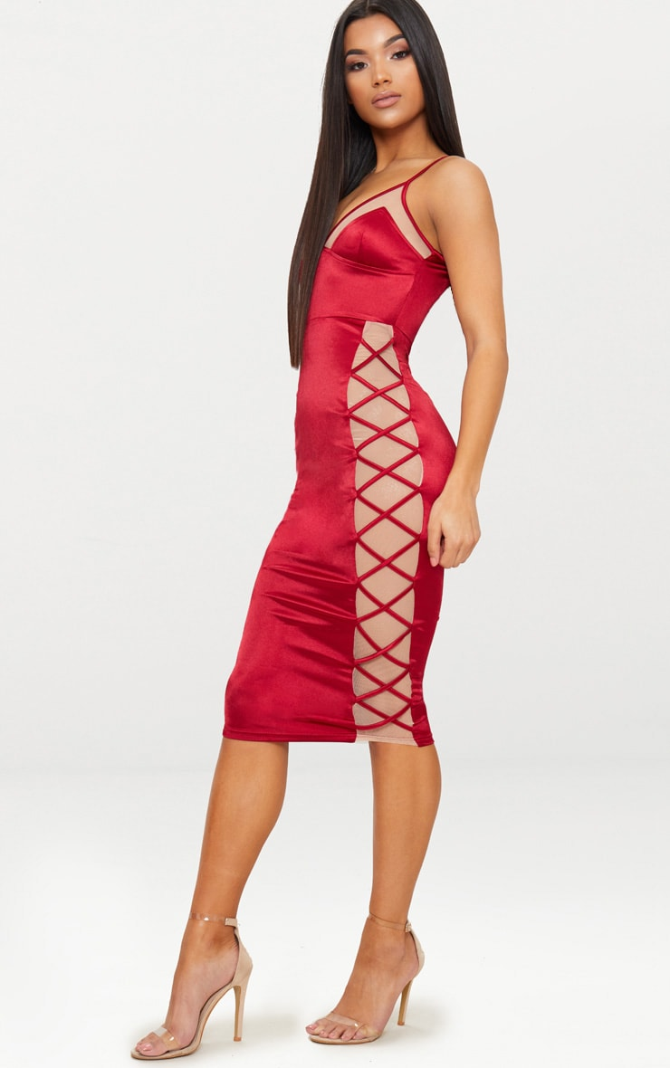 Dark Red Satin Lace Up Midi Dress 4