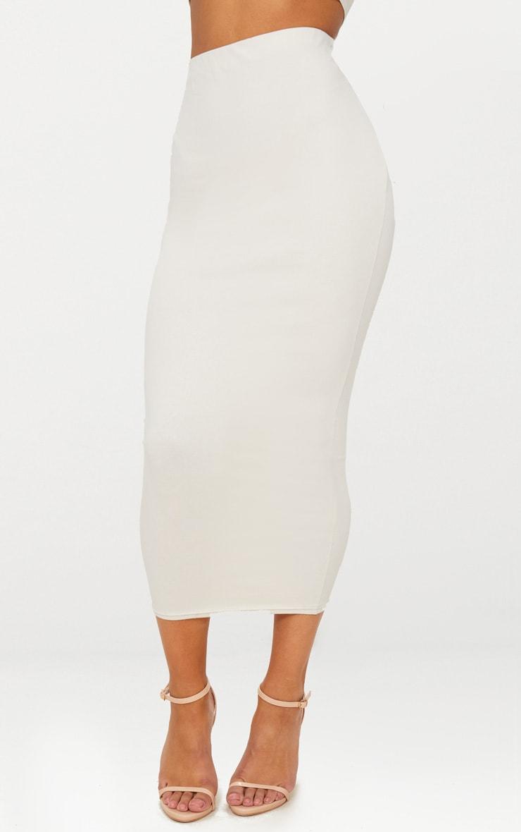 Cream Cotton Stretch Midaxi Skirt 2