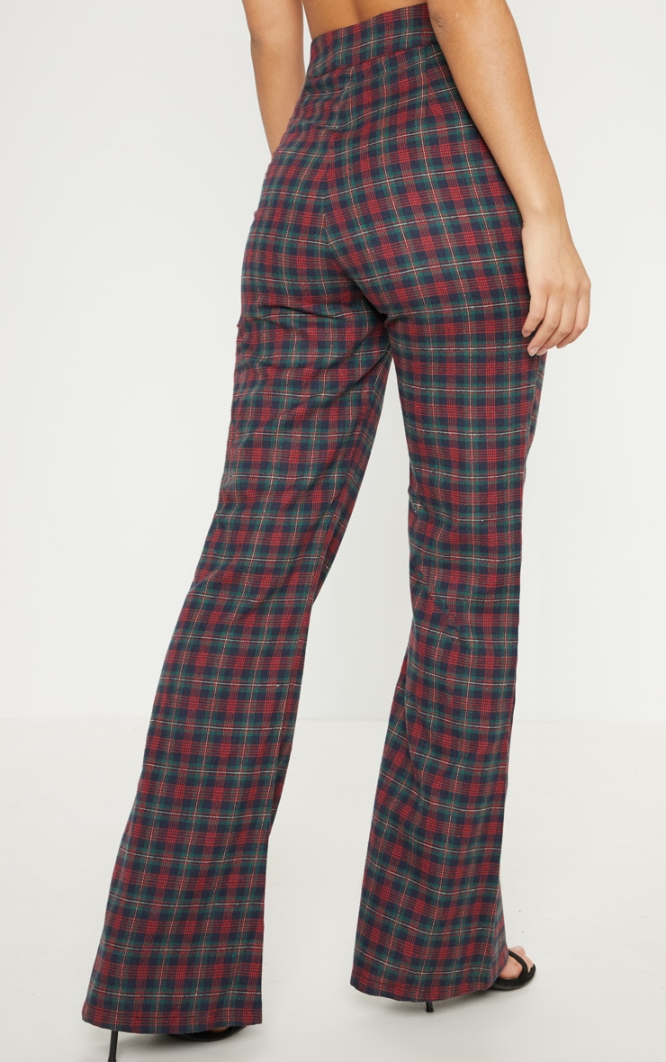 Multi Tartan Print High Waisted Flare Leg Trouser 4