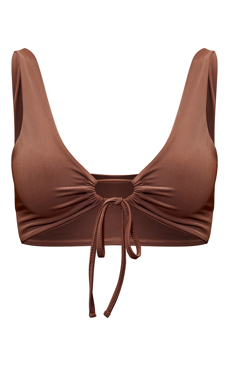 Chocolate Scoop Key Hole Tie Front Bikini Top 5