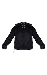 Black Nylon Diamond Quilted Hooded Puffer Jacket 5