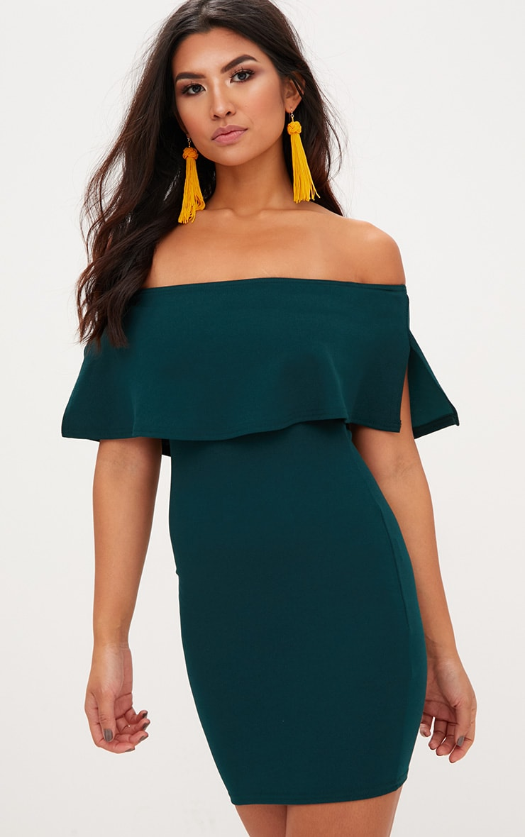 Emerald Green Bardot Frill Bodycon Dress  1