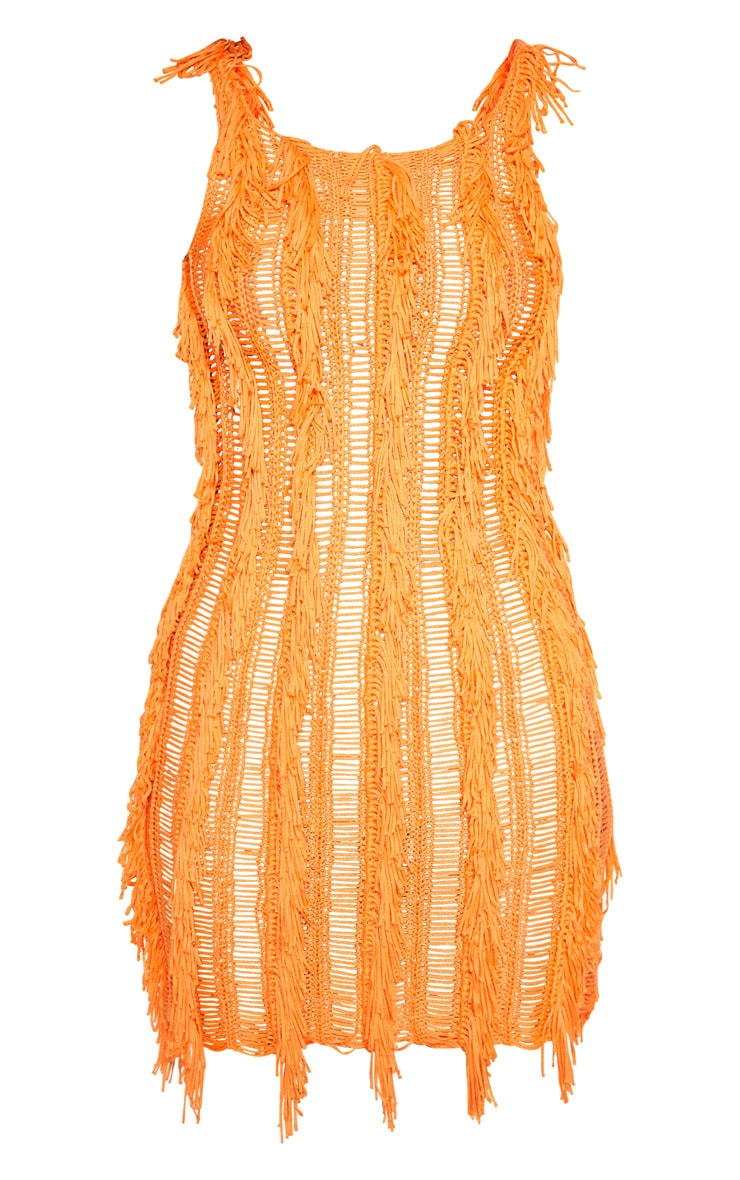 Orange Fringe Detail Knitted Dress  3