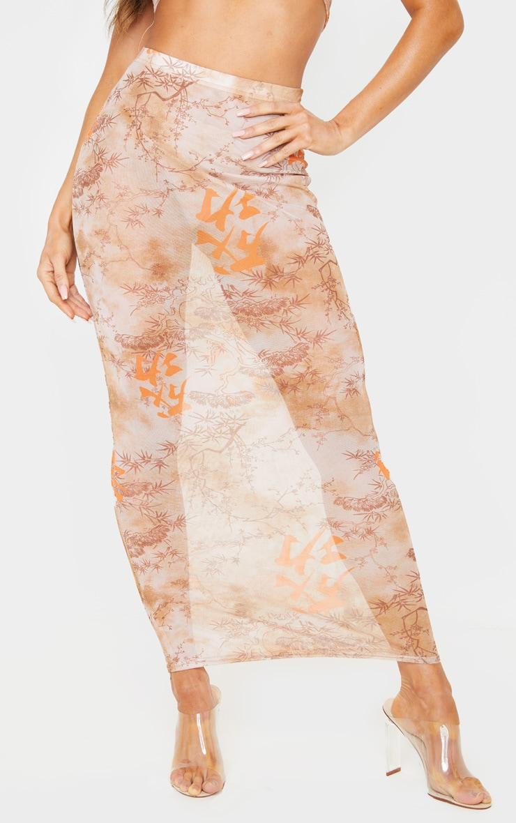 Nude Oriental Mesh Midaxi Skirt 2
