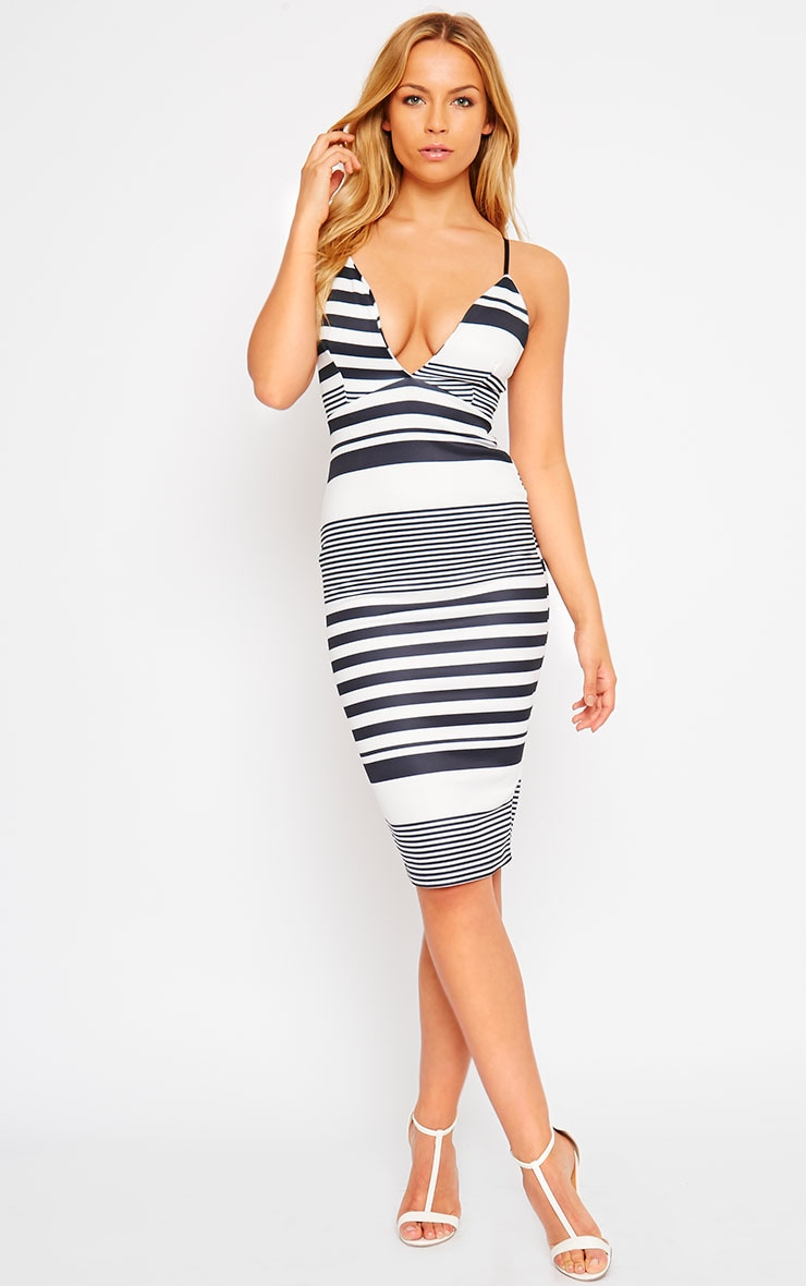 Nada Stripe Plunge Cross Back Midi Dress 1