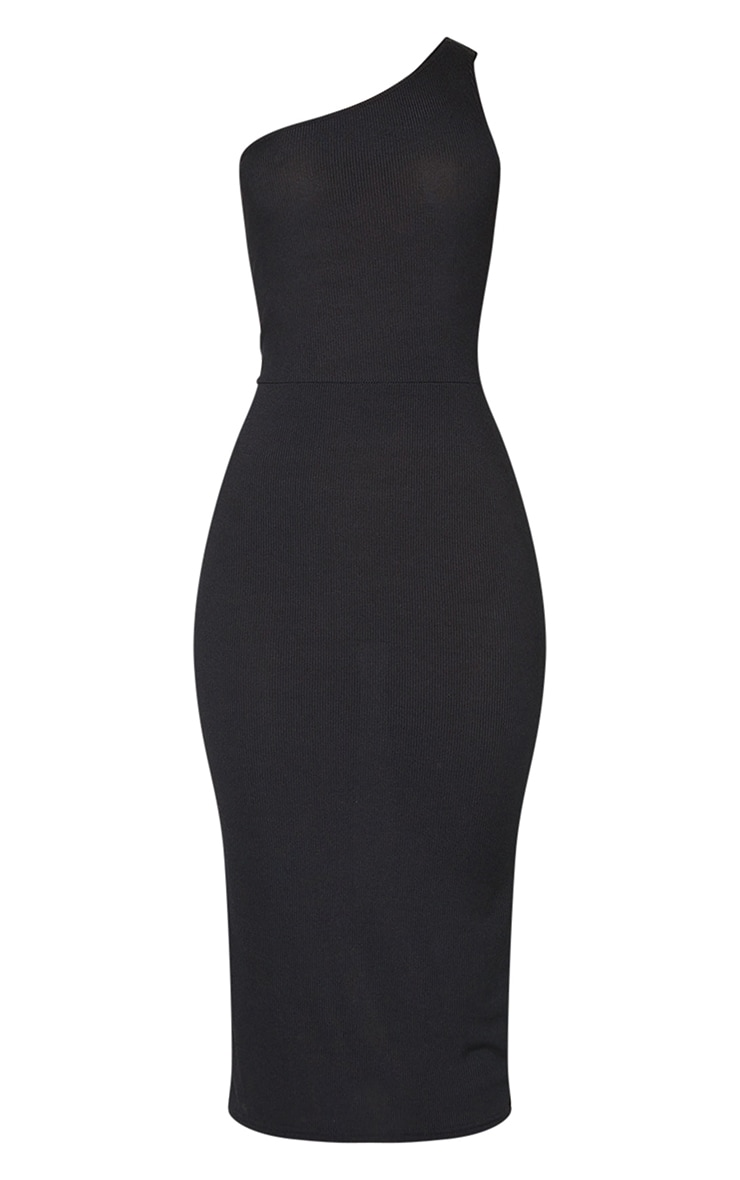 Black Ribbed One Shoulder Cut Out Back Detail Midi Dress 5