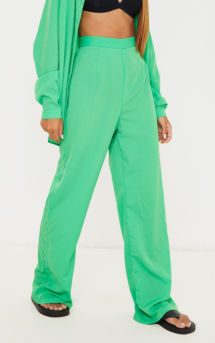 Bright Green Wide Leg Trousers 2