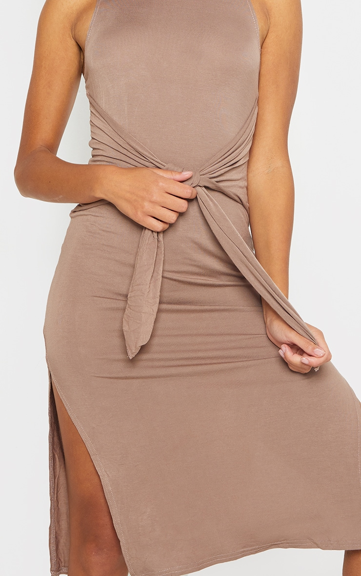 Mocha Tie Waist Midi Bodycon Dress 4