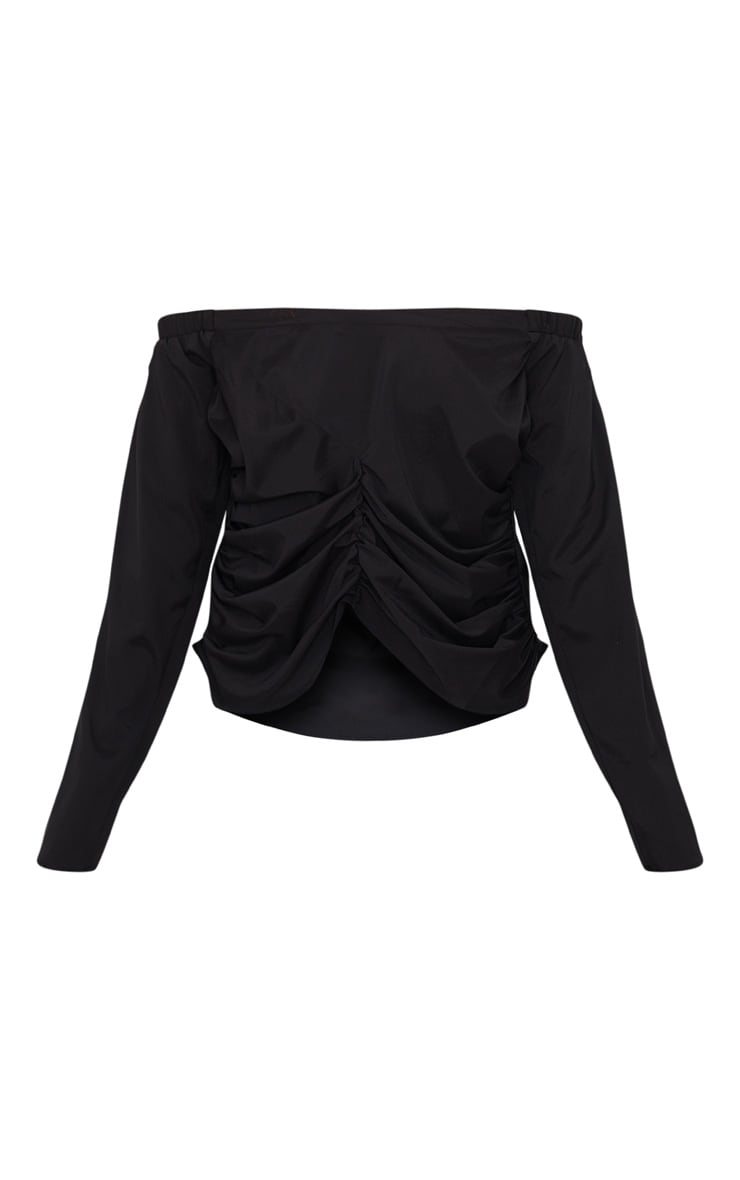 Black Ruched Front Bardot Shirt 3