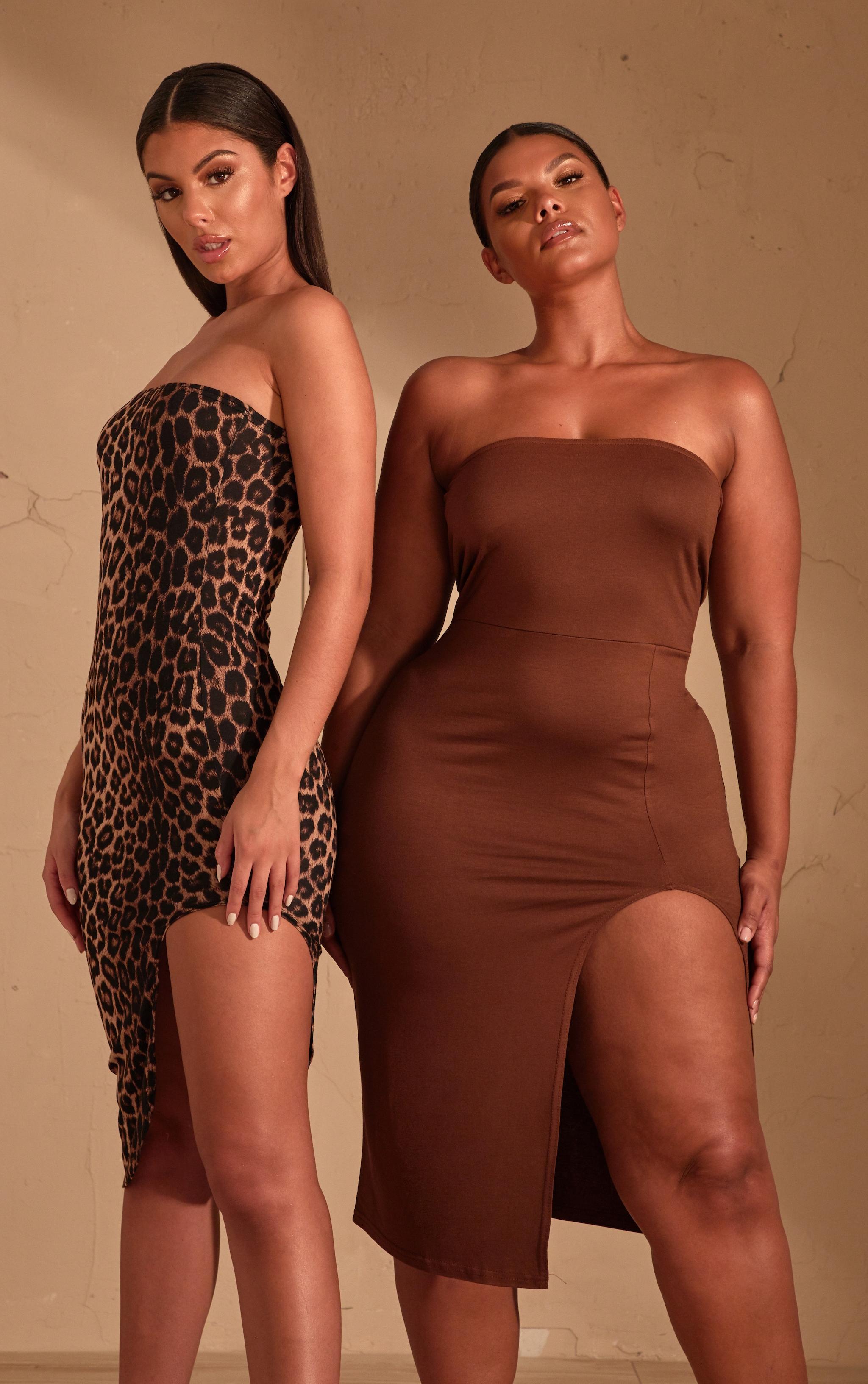 Robe mi-longue bandeau marron imprimé léopard fendue devant 6