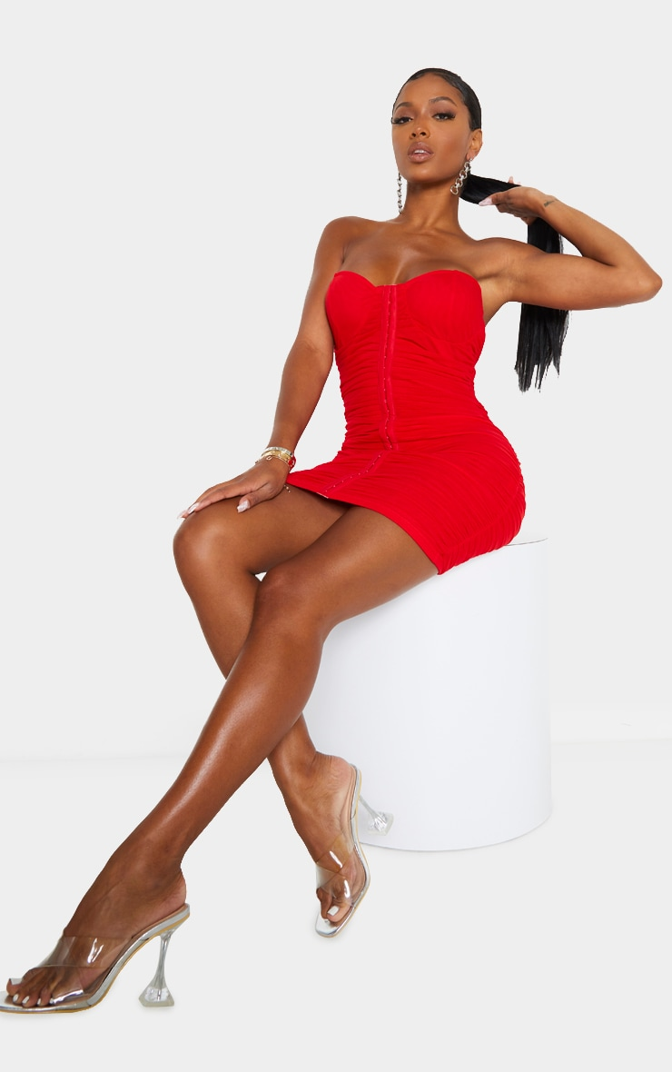 Shape Red Mesh Ruched Hook And Eye Bodycon Dress 3