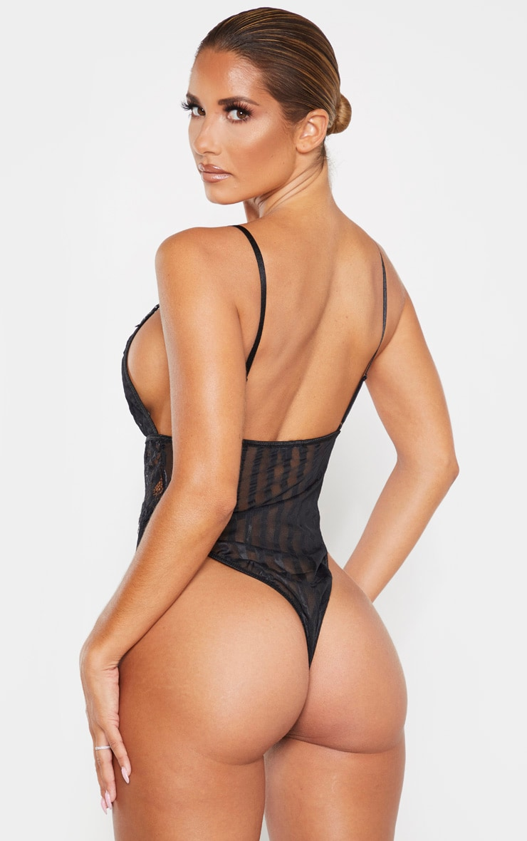 Black Lace Insert Striped Body 2