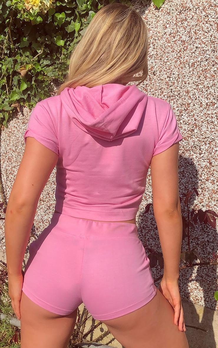 Light Pink Short Sleeve Raw Edge Cropped Sweater 2