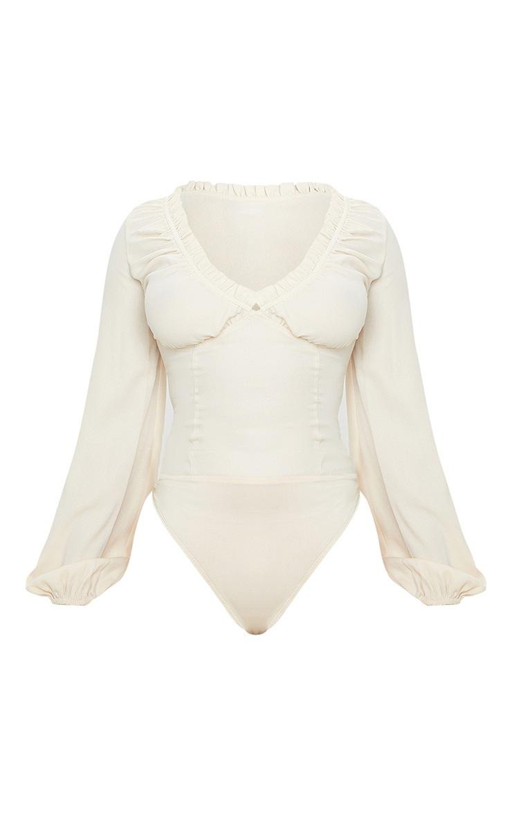 Petite Cream Milkmaid Frill Cup Bodysuit 3
