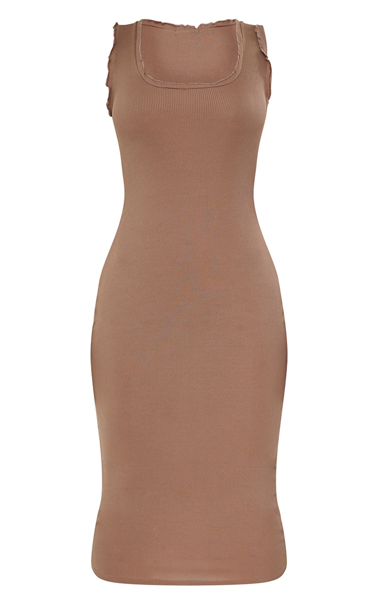 Camel Rib Lettuce Raw Edge Detail Sleeveless Midi Dress 5