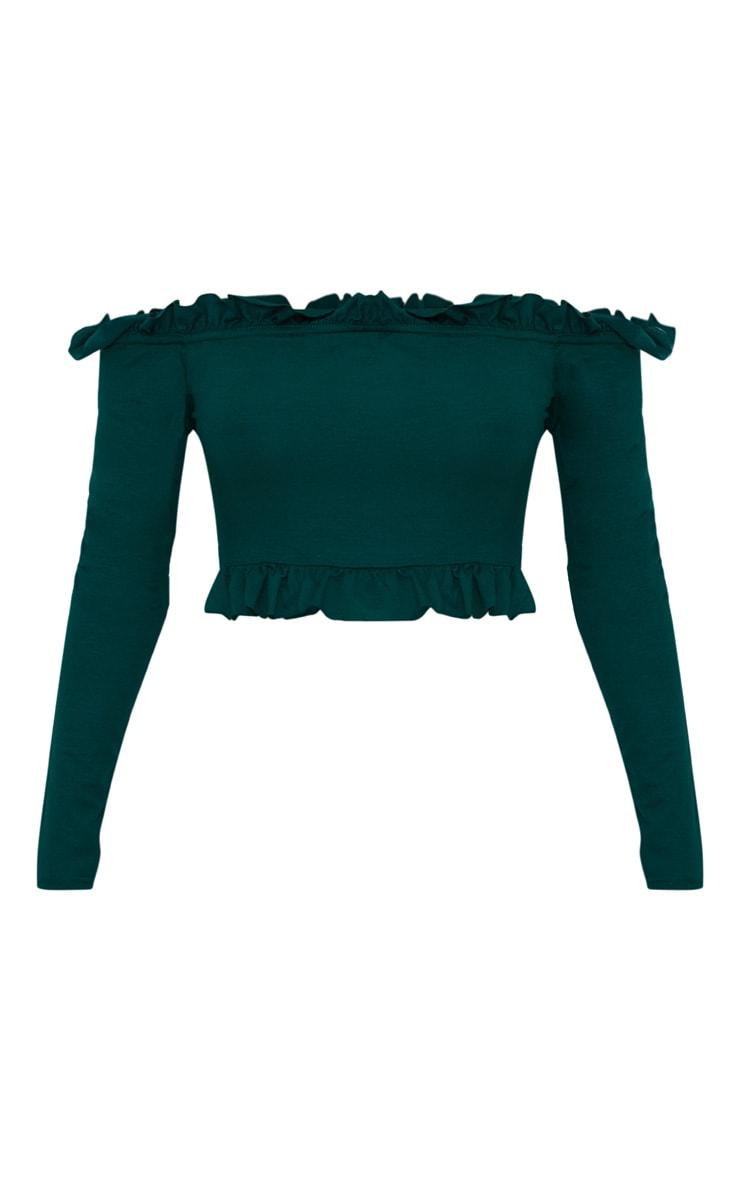 Emerald Green Bardot Frill Jersey Crop Top  3