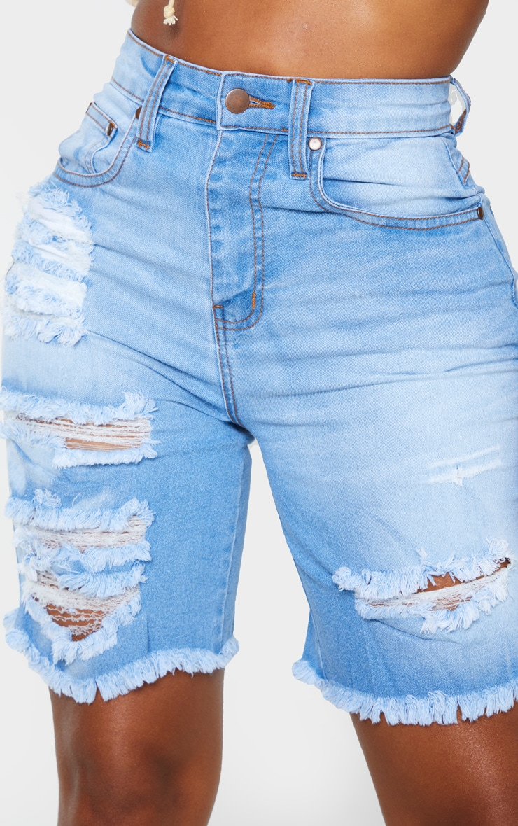 Shape Light Wash Distressed Longline Denim Shorts 5