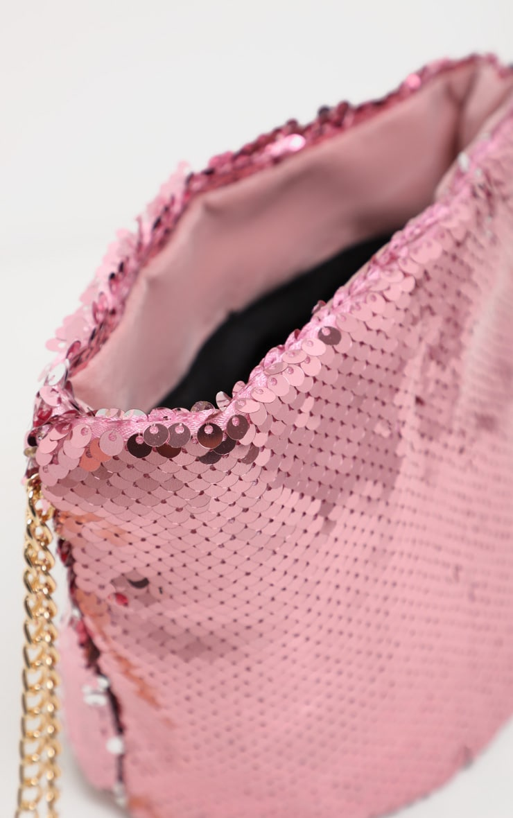 Pink Sequin Pouch Chain Strap Cross Body 3