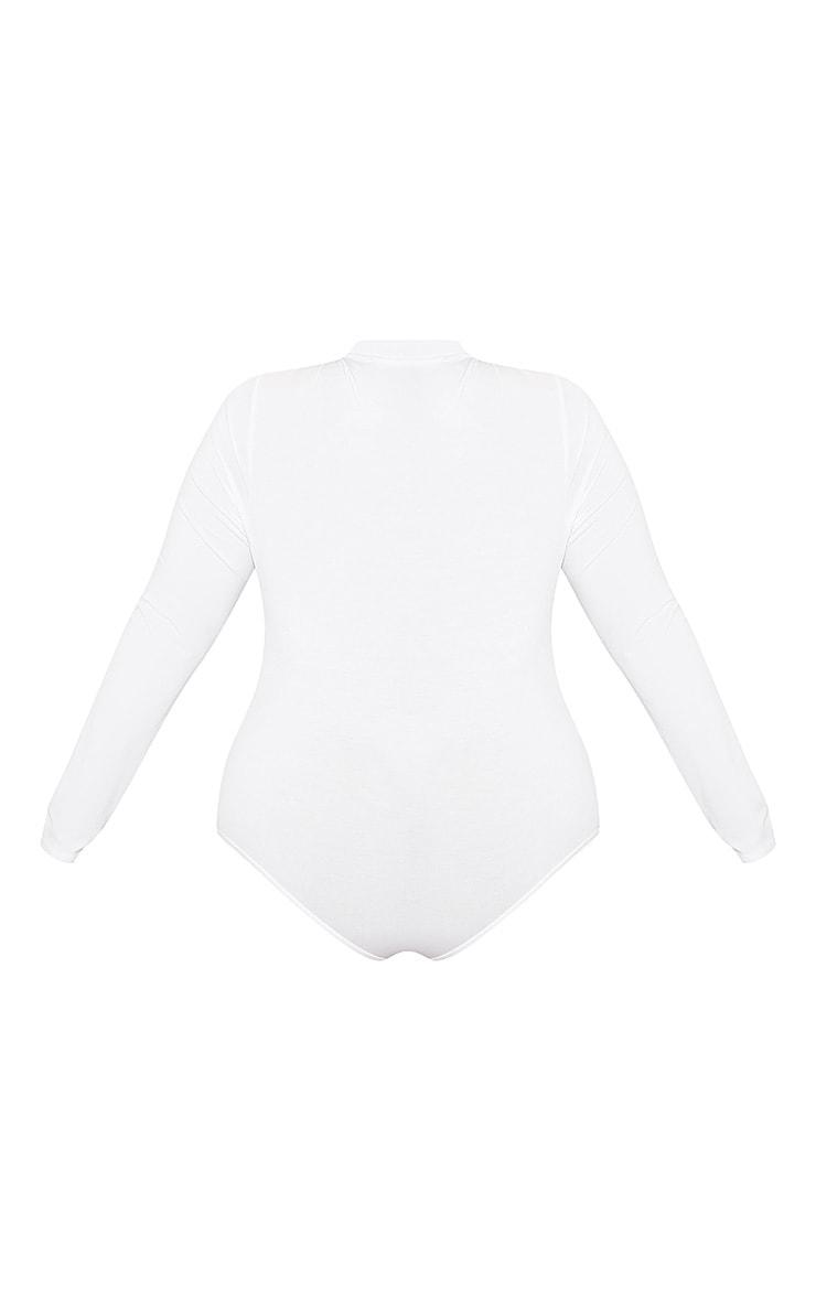Go Girl High Neck Long Sleeve Bodysuit White 4
