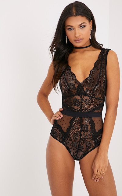 Plus Black Rib Lace Trim Drape Thong Bodysuit Pretty Little Thing Cheap Sale Classic afuZg0