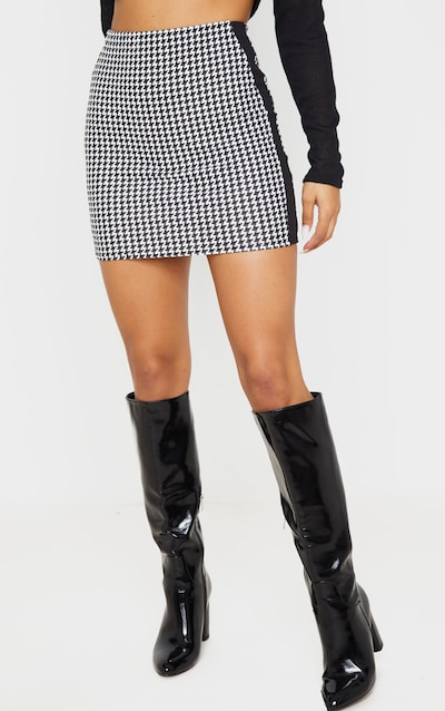 Black Houndstooth Contrast Panel Mini Skirt