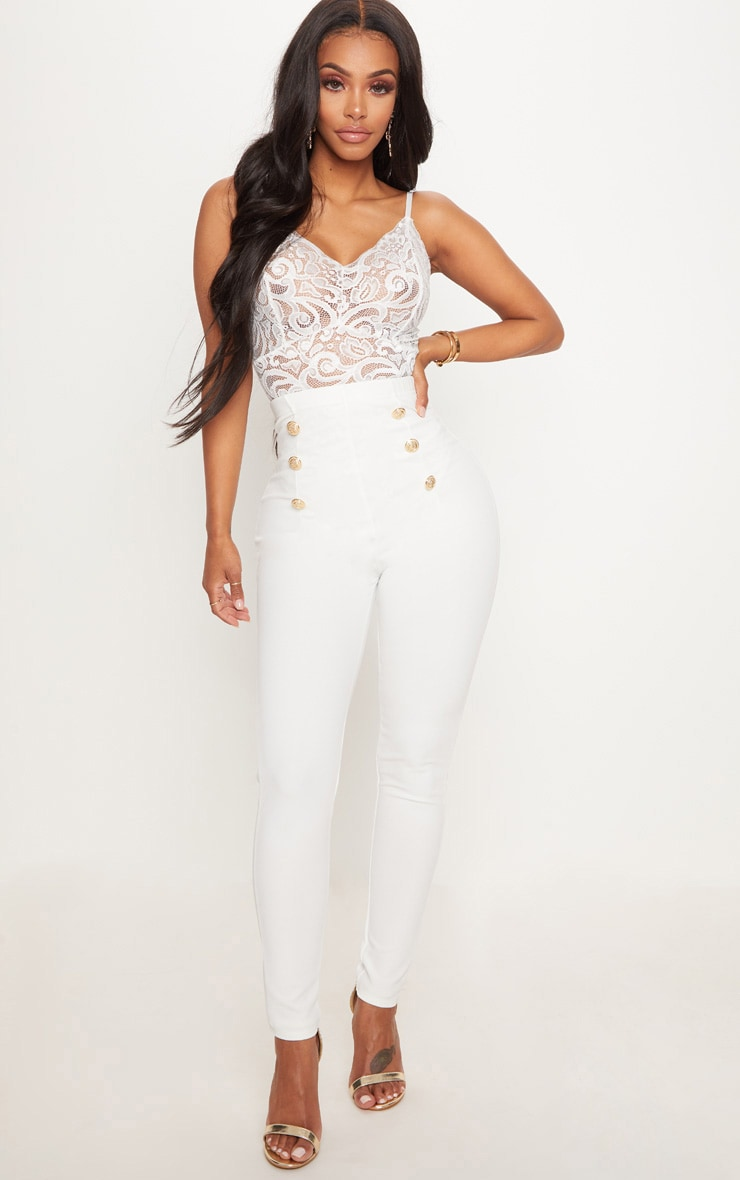 Shape White Military Button Skinny Trousers 1