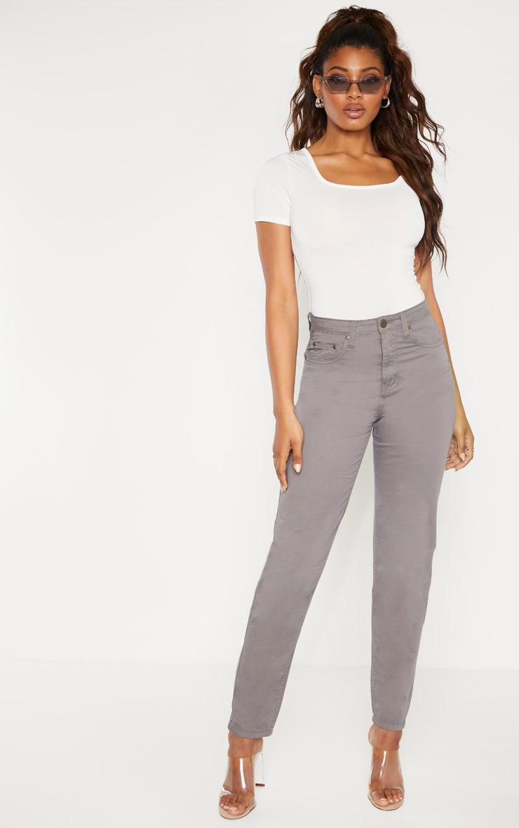 Tall Grey Denim Mom Jeans 1