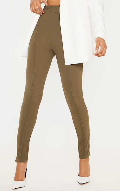 Khaki Stitch Detail Side Split Skinny Trouser