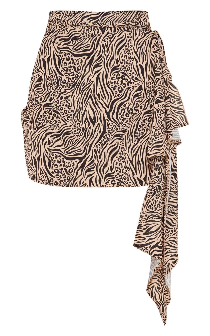 Stone Mix Print Waterfall Tie Detail Mini Skirt 3