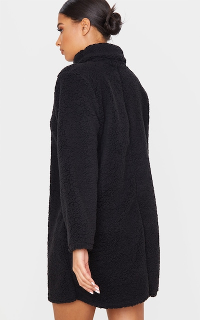 Black Borg High Neck Oversized Jumper Dress