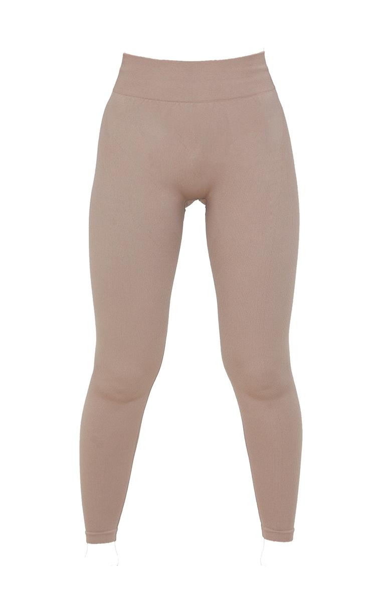 Taupe Seamless Rib Detail Gym Leggings 6
