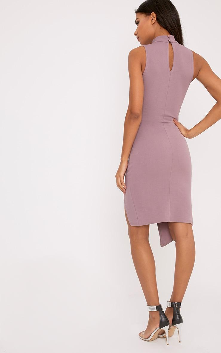 Laverna Dark Mauve High Neck Cut Out Wrap Over Midi Dress 2