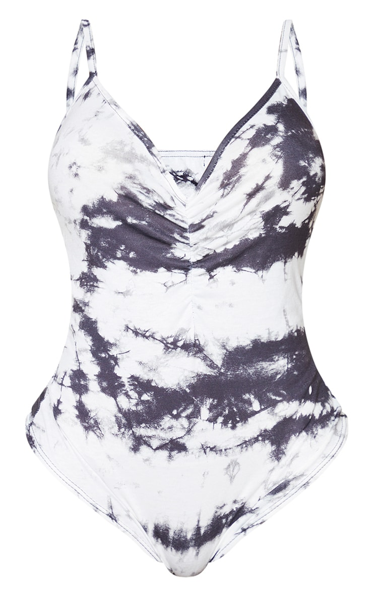 Shape Black Tie Dye Jersey Ruched Front Strappy Bodysuit 5