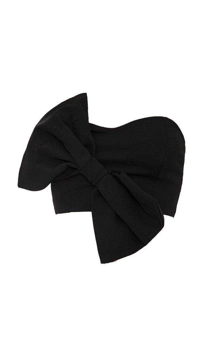 Black Bow Front Bandeau Crop Top 3