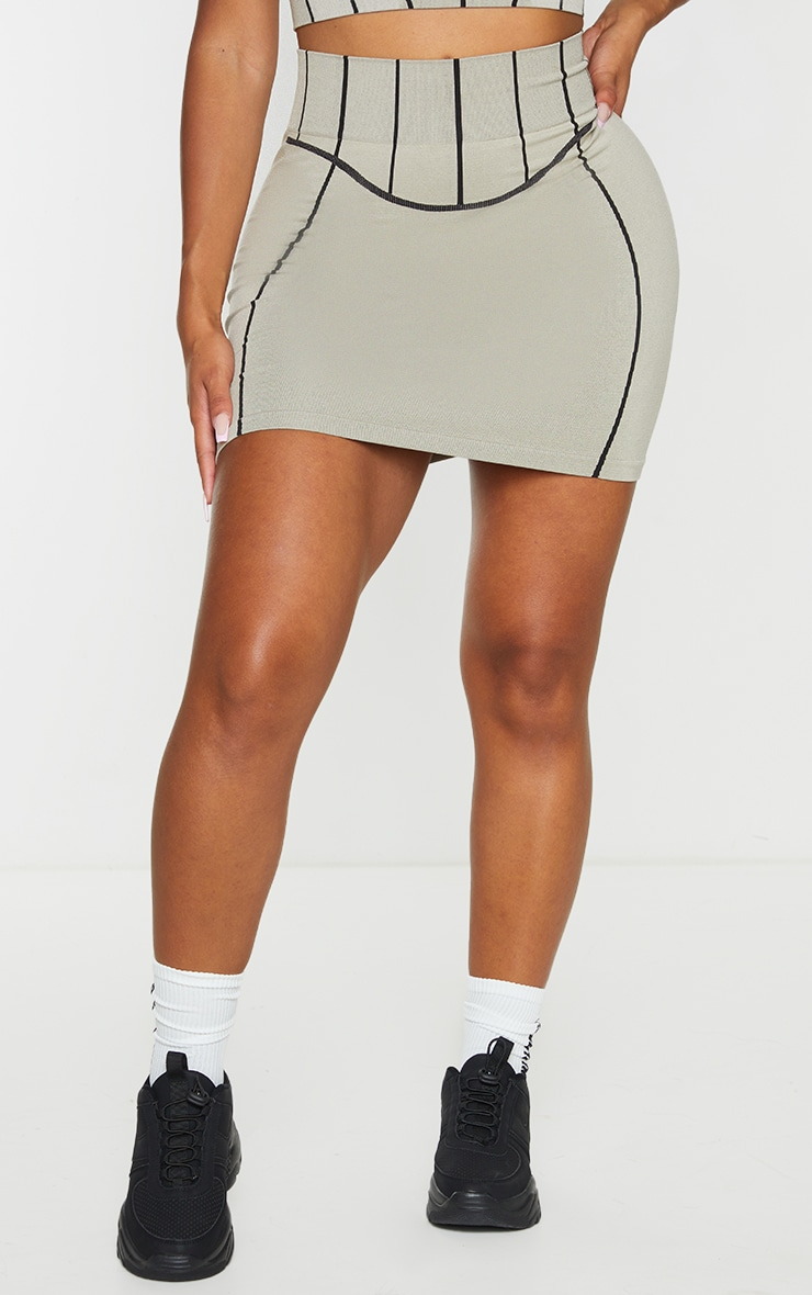 Shape Stone Seamless Contrast Detail Bodycon Skirt 2