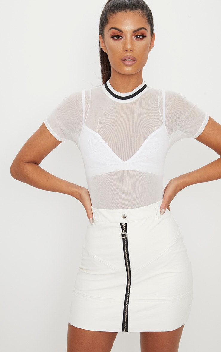 White PU Zip Front Biker Skirt