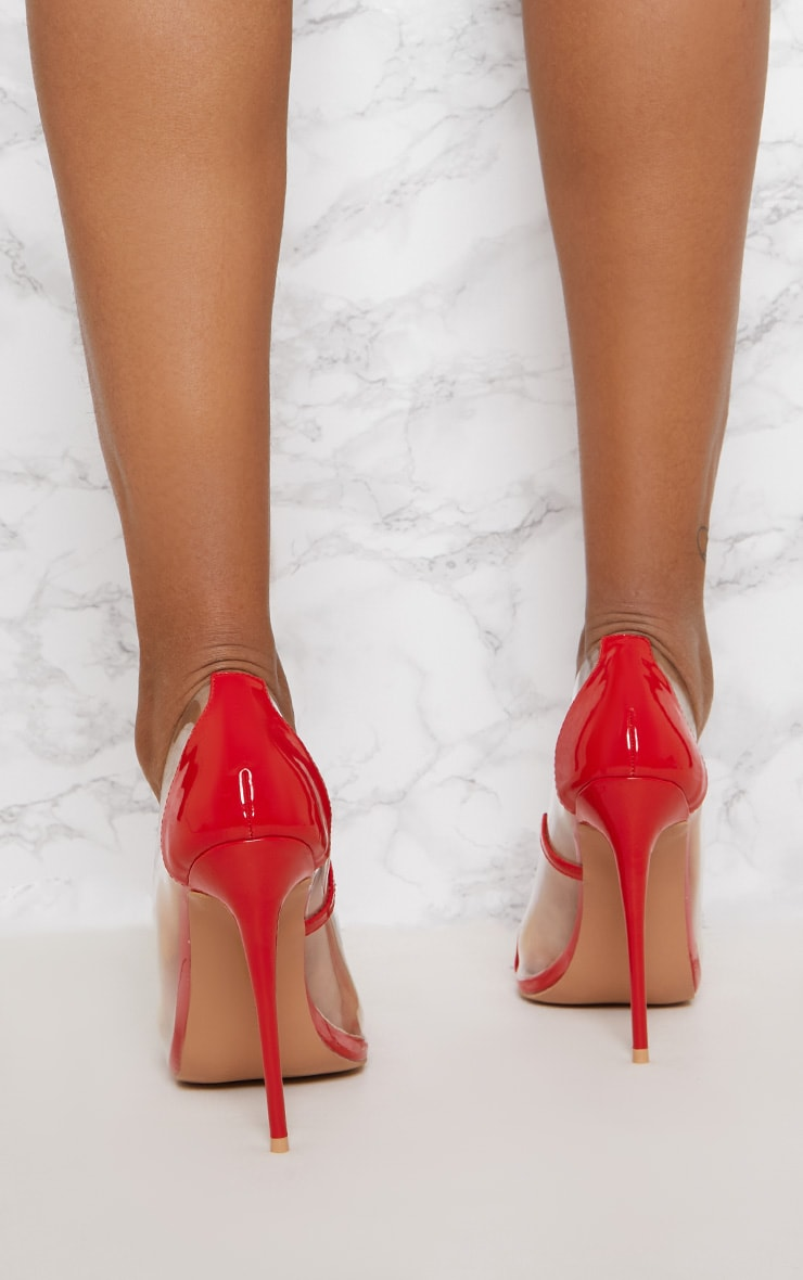 Red Patent Clear Court Shoes 4