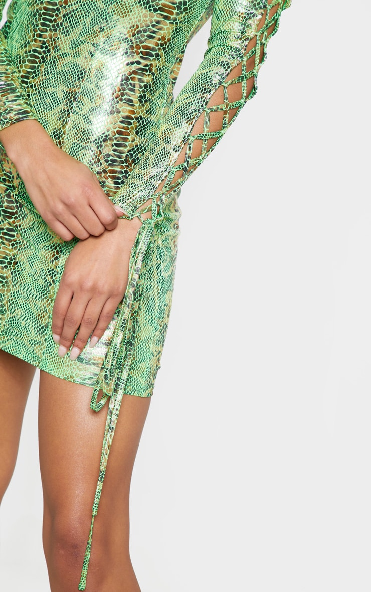 Neon Green Metallic Snake Bardot Bodycon Dress 4