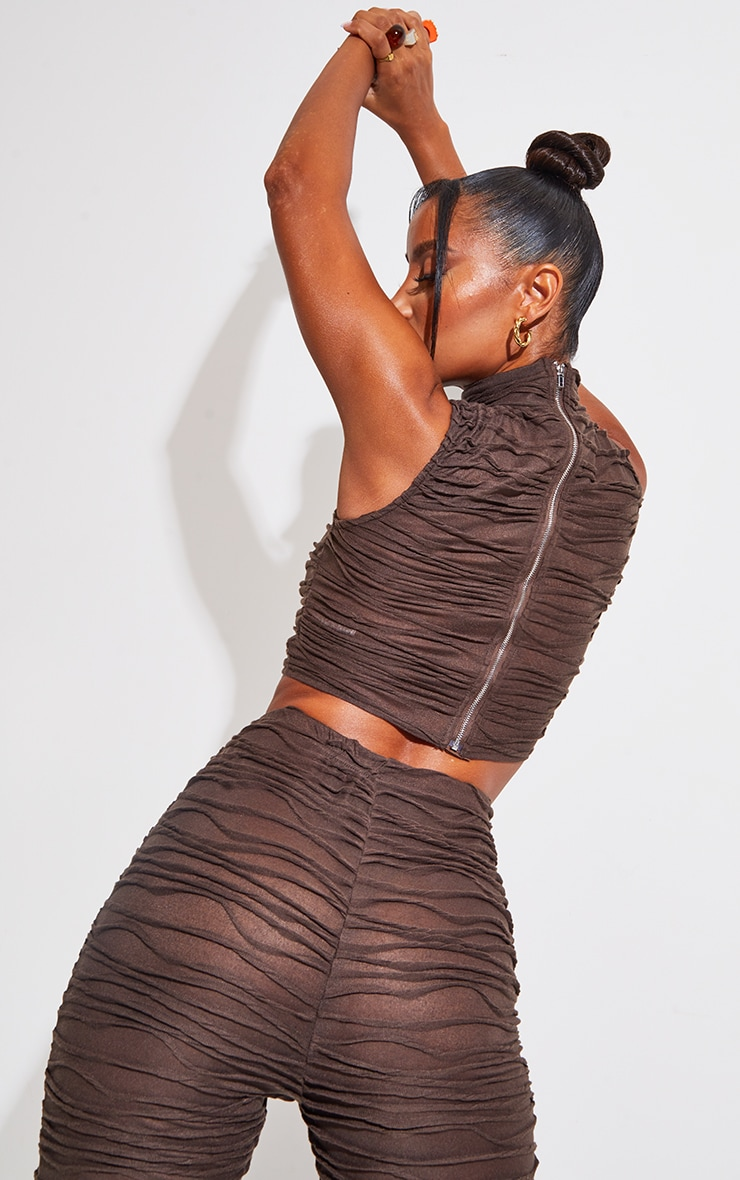 Brown Pleated Jersey High Neck Sleeveless Crop Top 2