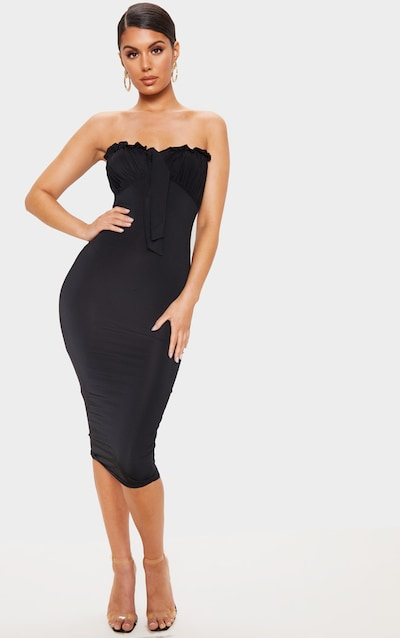 c35b1189e84 Black Slinky Tie Bust Detail Bandeau Midi Dress