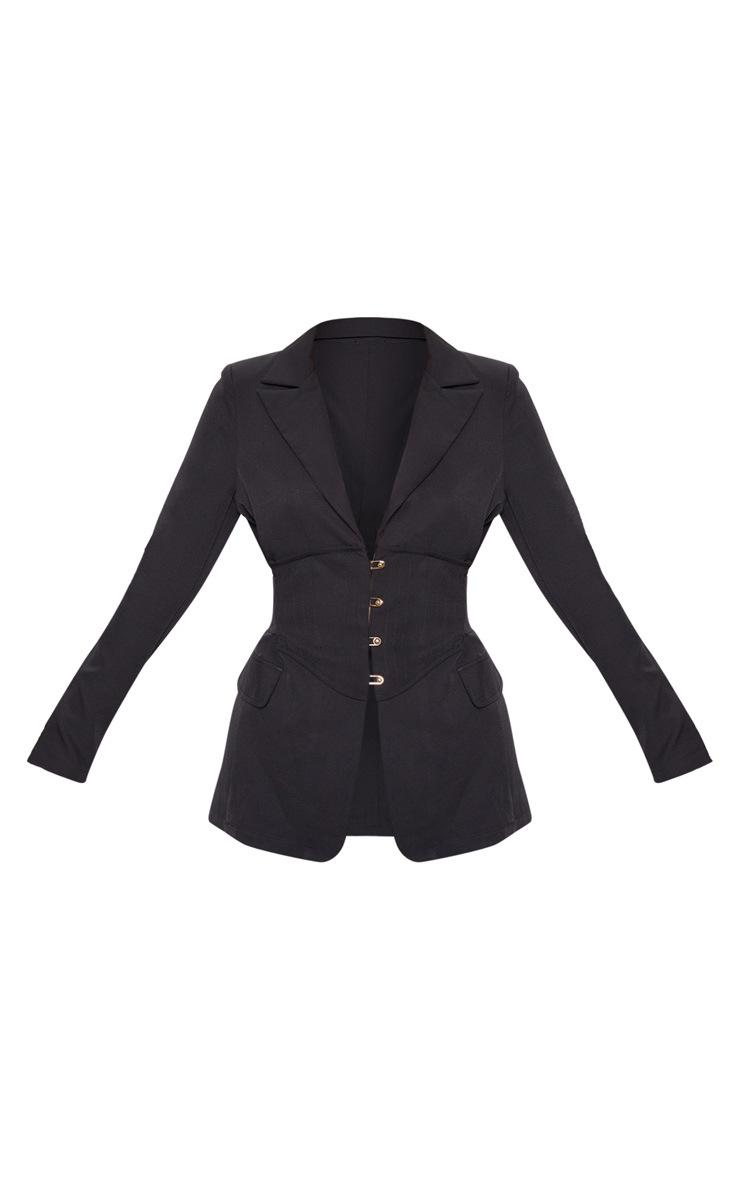 Petite Black Corset Woven Blazer 3